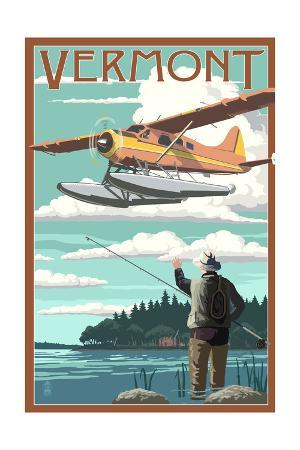 Vermont - Float Plane and Fisherman