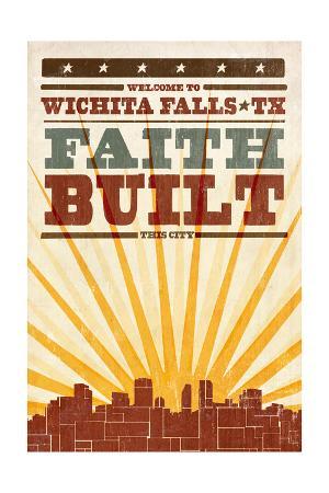 Wichita Falls, Texas - Skyline and Sunburst Screenprint Style