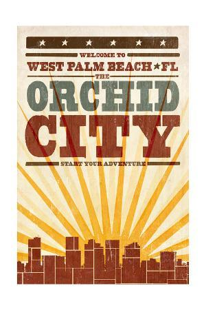 West Palm Beach, Florida - Skyline and Sunburst Screenprint Style