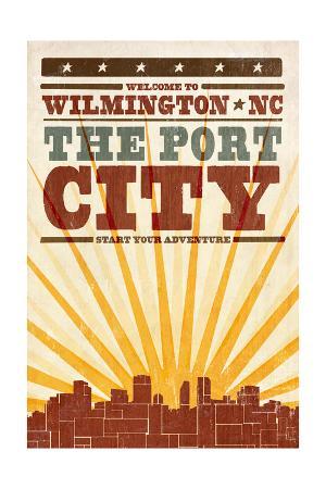 Wilmington, North Carolina - Skyline and Sunburst Screenprint Style