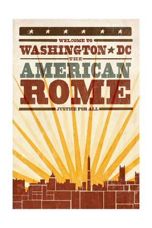Washington, DC - Skyline and Sunburst Screenprint Style