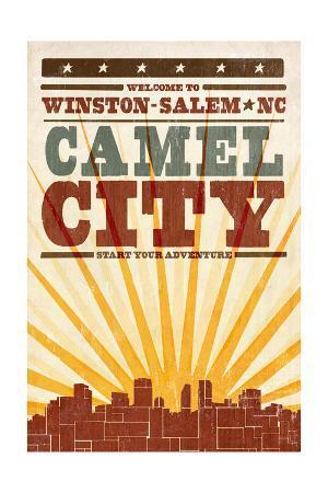 Winston-Salem, North Carolina - Skyline and Sunburst Screenprint Style