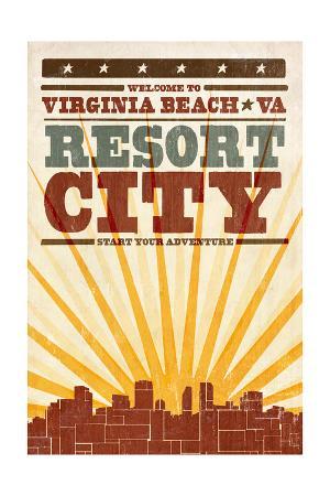 Virginia Beach, Virginia - Skyline and Sunburst Screenprint Style
