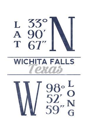 Wichita Falls, Texas - Latitude and Longitude (Blue)