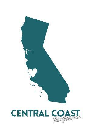 Central Coast, California - State Outline and Heart (Dark Blue)