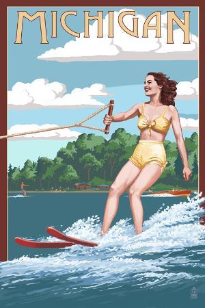 Michigan - Water Skier and Lake