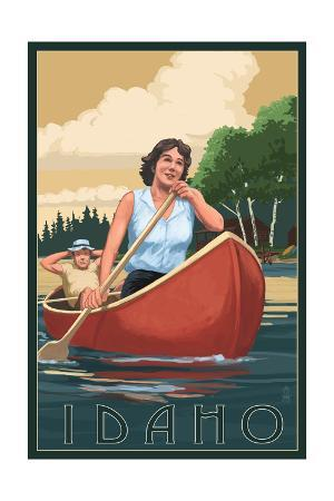 Idaho - Canoers on Lake