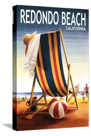 Redondo Beach, California - Beach Chair and Ball