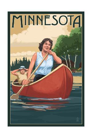 Minnesota - Canoers on Lake