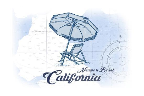 Newport Beach California Chair And Umbrella Blue Coastal Icon