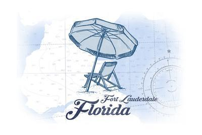 Fort Lauderdale, Florida - Beach Chair and Umbrella - Blue - Coastal Icon