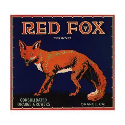 Red Fox Brand - Orange, California - Citrus Crate Label