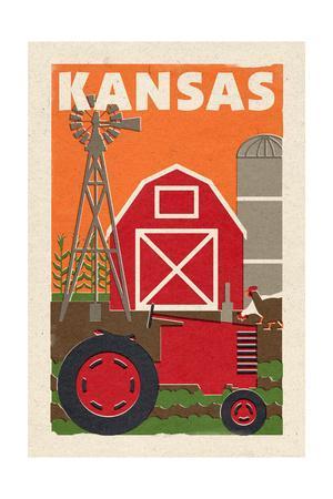 Kansas - Country - Woodblock