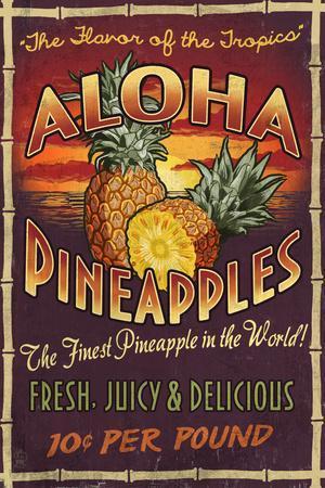 Aloha Pineapples - Vintage Sign