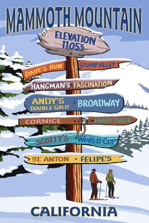Mammoth Mountain, California - Ski Signpost
