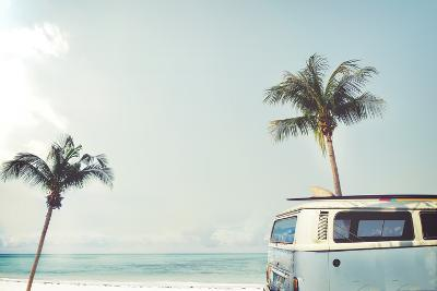 Vintage Car Parked on the Tropical Beach (Seaside) with a Surfboard on the Roof - Leisure Trip in T