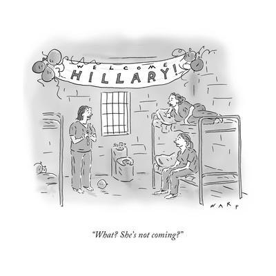 """What? She's not coming?"" - Cartoon"