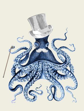 Octopus Print Blue on Cream b