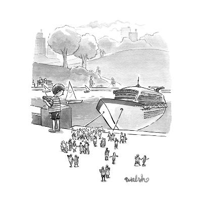 A boat basin cruise ship toy lets off tiny passengers.  - New Yorker Cartoon