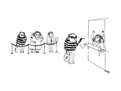 A bank robber robbing a bank with a gun on a chain like a pen, while other... - New Yorker Cartoon