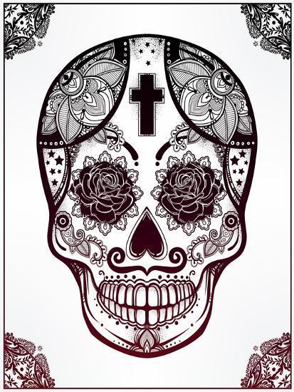 Sugar Skull in Floral Frame Illustration. Art by Katja Gerasimova at ...