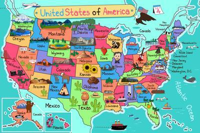 Usa Map In Cartoon Style Art By Artisticco Llc At Allposterscom - Cartoon-map-of-the-us
