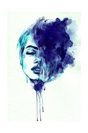 Beautiful Woman Face. Abstract Watercolor. Fashion Illustration
