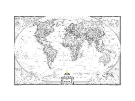 Spanish Executive World Map Posters By National Geographic Maps At
