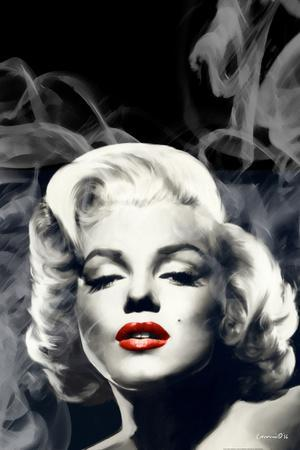 Red Lips Marilyn in Smoke