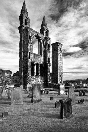 Scotland, St. Andrews, Old Cathedral, Ruin, B / W