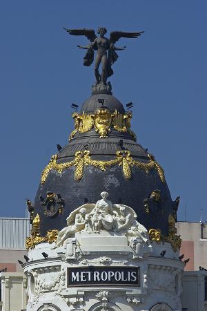 Spain, Madrid, Grain Via, Metropolis-Haus, Detail