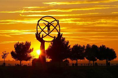 Spain, Madrid, Airport, Barajas, Viewpoint, Monument, Sunset