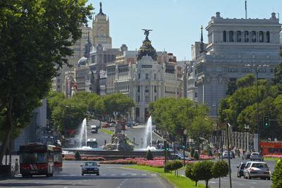Spain, Madrid, Street-Scene, Calle De Alcala, Plaza De La Cibeles, Cibeles-Fountain