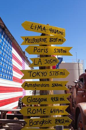 USA, Arizona, Historical Route 66, Seligman, Signpost