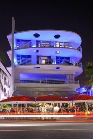 Blue Illuminated Hotel at Night, Ocean Drive, Miami South Beach, Art Deco District, Florida, Usa