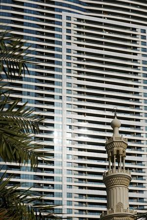 Al Qasba Mosque in Front of Apartment Towers, Contrast, Emirate of Sharjah