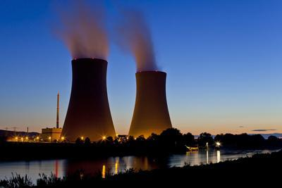 Germany, Weser Hills, Lower Saxony, Grohnde, Nuclear Power Plant, Sunset