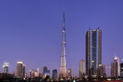 Burj Khalifa, the Highest Tower of the World in the Evening Light, Night Photography