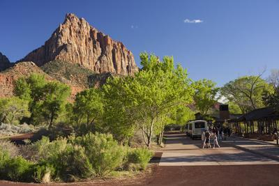 Bus Stop, the Watchman, Zion National Park, Utah, Usa