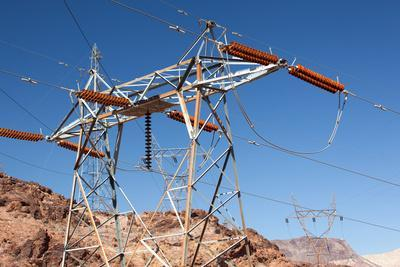 USA, Arizona and Nevada, Hoover Dam, Power Poles