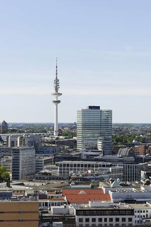 Television Tower and Rehabilitated Emporio Haus, Aerial Shot, Hanseatic City of Hamburg