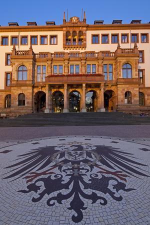 Europe, Germany, Hesse, Wiesbaden, Stone Mosaic Kaiseradlerwappen Infront of Townhall Stairs