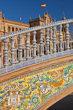 Spain, Andalusia, Seville, Plaza De Espana, Bridge, Puente De Castilla, Close-Up