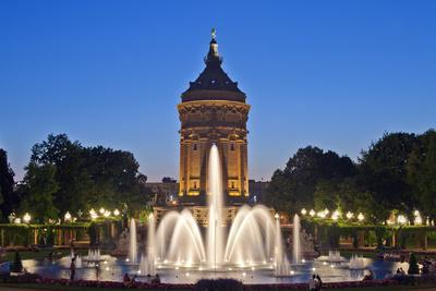 Germany, the Rhine, Baden-Wurttemberg, Mannheim, City Centre, Water Tower, Dusk, Water Fountains