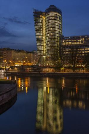 Austria, Vienna, Building of the Uniqa Insurance, Reflexion in the Donaukanal (Danube Canal