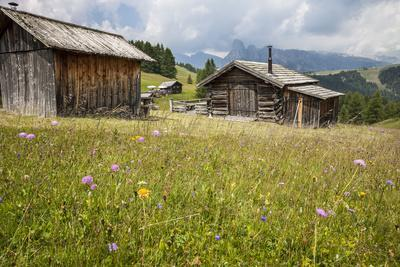 Alpine Huts at the Plateau of the Pralongia, St. Kassian, Val Badia, South Tyrol, Italy, Europe