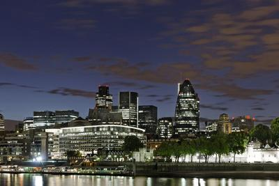 Skyline of the City of London with the Thames, Swiss Re Tower, South Shore of the Thames