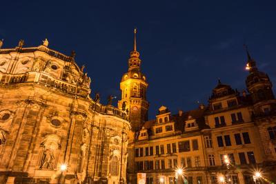Dresden, Historical Old Town, Dresden Cathedral, Castle, Blue Hour
