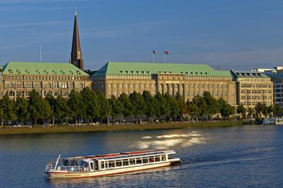 Germany, Hamburg, the Inner Alster with Excursion Boat and Hapag-Lloyd Shipping Company