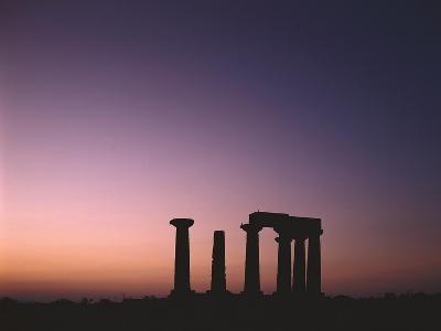Greece, Peloponnes, Corinth, Apollon Temple, Silhouette, Morning Light